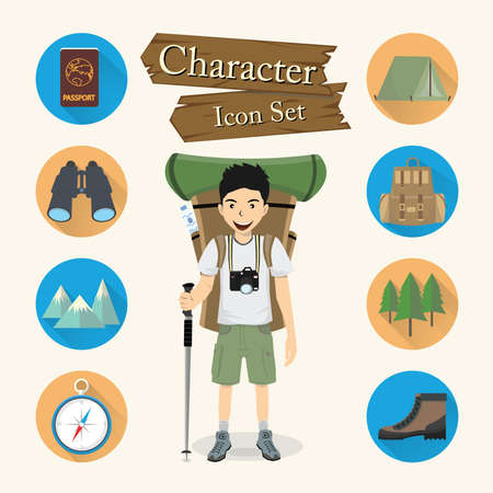 hiking boots: Backpacker character Icon set vector.