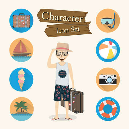 Traveler character Icon set vector. Vector