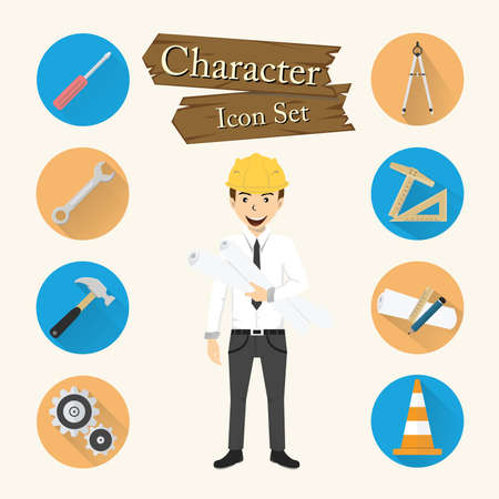 industrial icon: Engineer character Icon set vector. Illustration