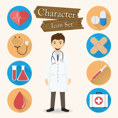 Doctor character Icon set vector. Vector