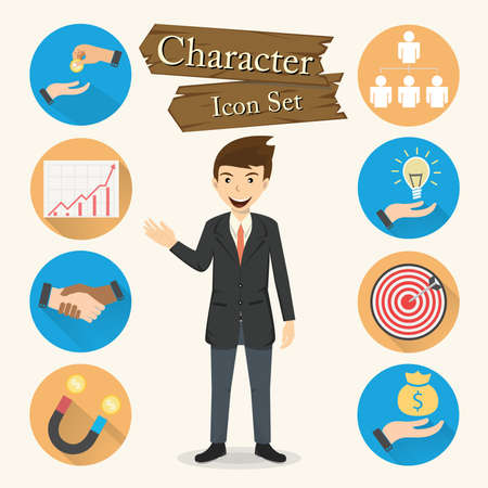 Businessman character Icon set vector.