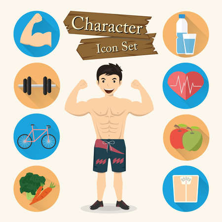 weighed: Muscular man character Icon set vector.