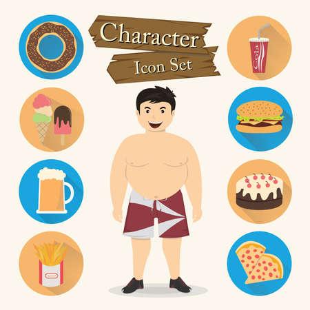 Chubby man character Icon set vector. Vector