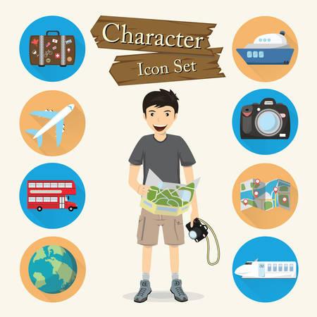 Traveler character Icon set vector. Vector