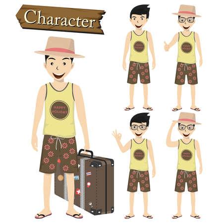Traveler character set vector illustration. Vector