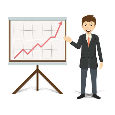 happy business team: Businessman present growing business vector illustration.