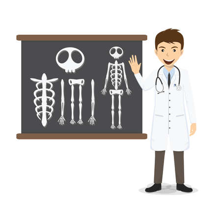 Doctor presenting skeleton on blackboard vector illustration. Vector