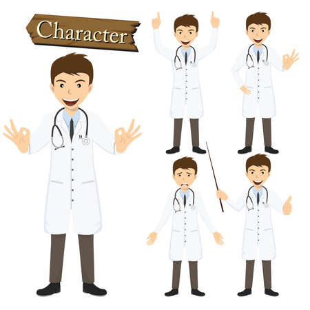 Doctor character set vector illustration. Vector