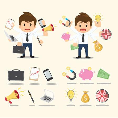 Businessman worker character Icon set vector. Vector