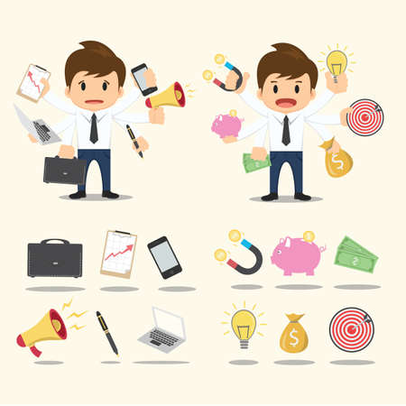 multitasking: Businessman worker character Icon set vector.