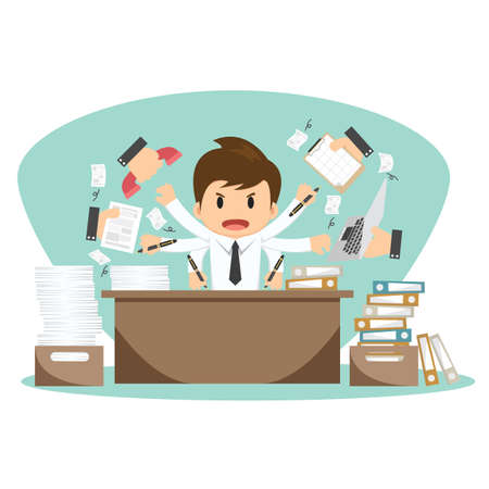 multitasking: Businessman on office worker vector illustration. Illustration
