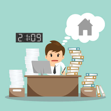 hard: Businessman hard work on office vector illustration.