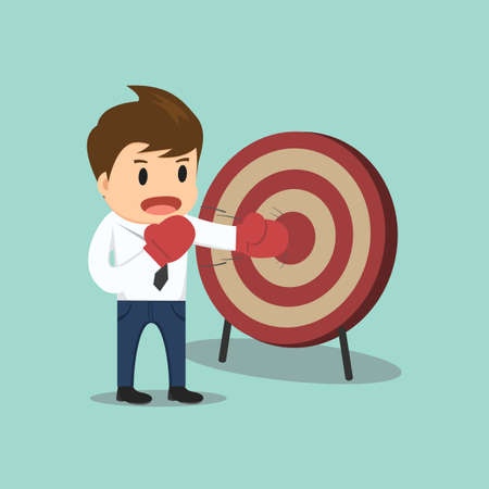 focus on the goal: Businessman hitting the target vector illustration.