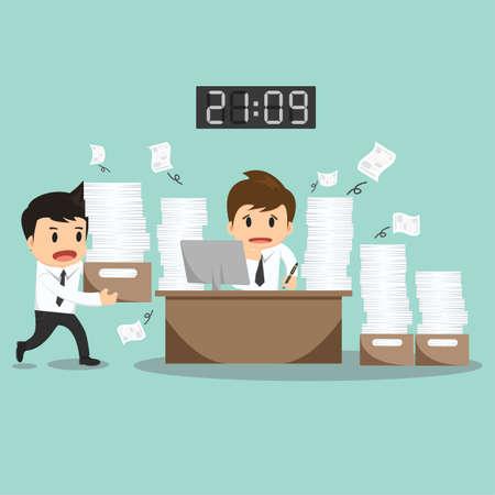worker: Businessman hard work on office vector illustration.