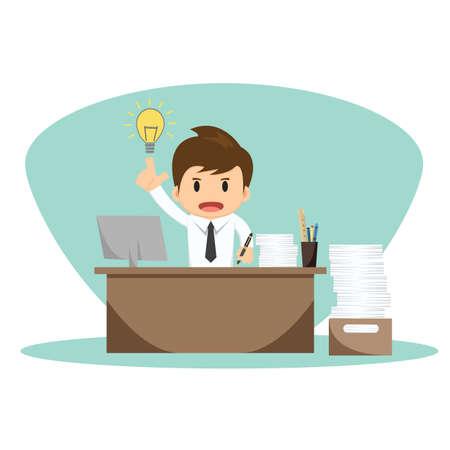 libro caricatura: Hombre de negocios con la ilustraci�n vectorial pensamiento.