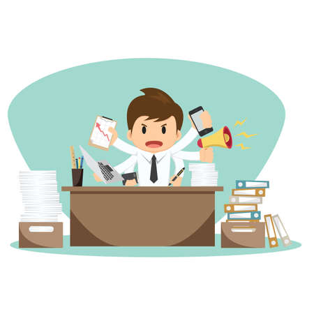 overworked: Businessman on office worker vector illustration. Illustration