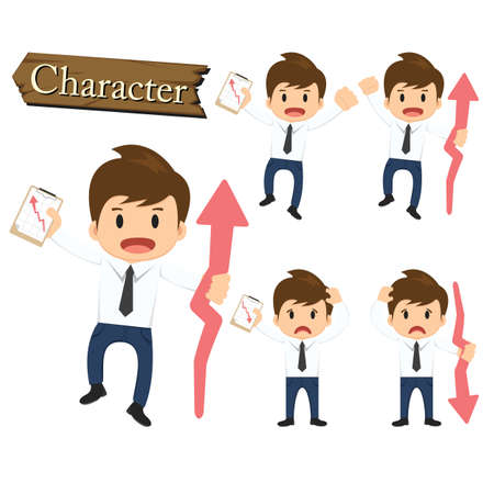 Businessman character present growing and present descending set vector. Vector