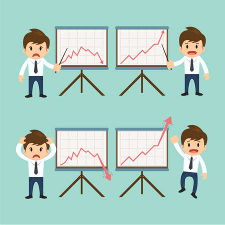 Businessman present growing and present descending vector illustration. Vector
