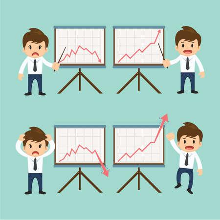 Businessman present growing and present descending vector illustration. Vector