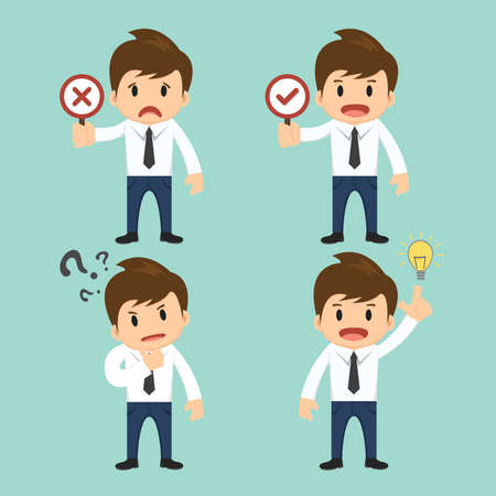 Businessman present wrong,right and present thinking,idea vector illustration.