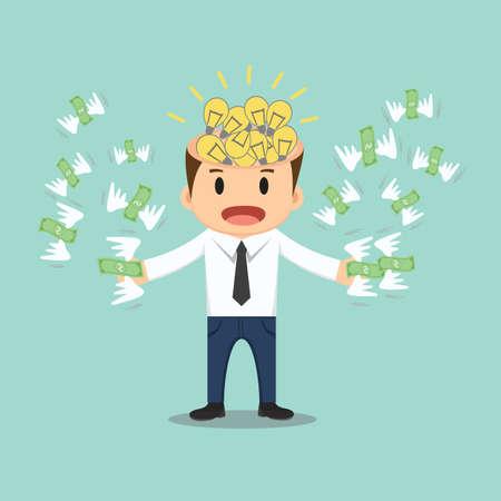 flying money: Businessman with bulb idea head flying money in hand vector illustration.