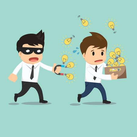 Businessman run thief use magnet stealing idea vector illustration.