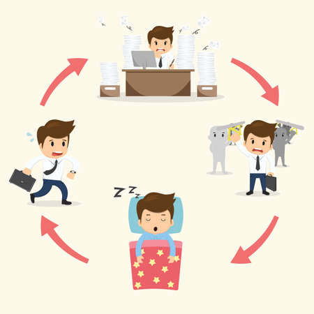 sleepy man: Businessman circle work set vector illustration.