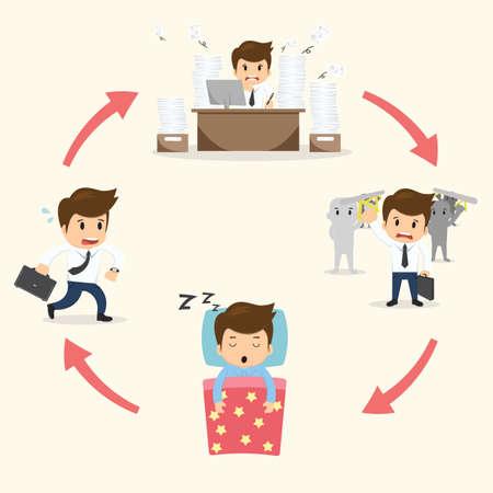 Businessman circle work set vector illustration.