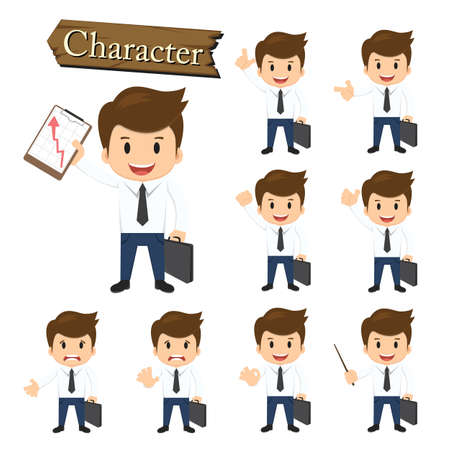 presentation people: Businessman character set vector illustration.