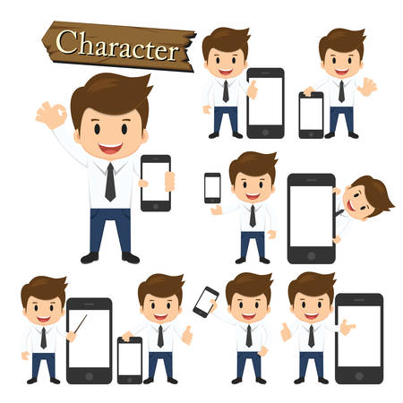 hand holding smart phone: Businessman present phone character set vector. Illustration