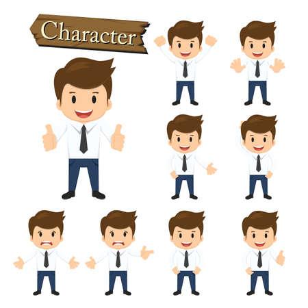 sales executive: Car�cter del hombre de negocios establece ilustraci�n vectorial.