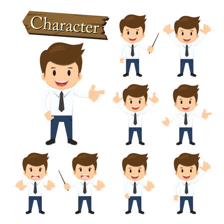 unhappy worker: Businessman character set vector illustration.