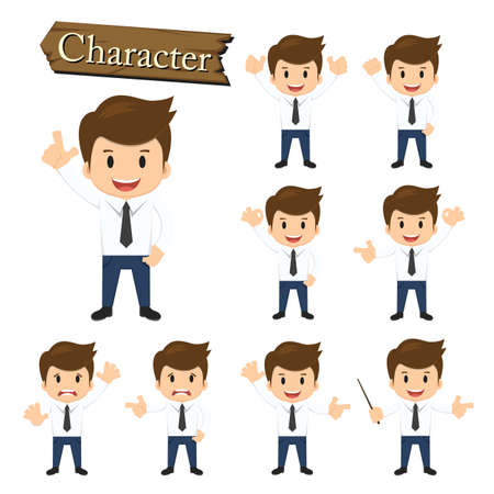 perfect face: Businessman character set vector illustration.