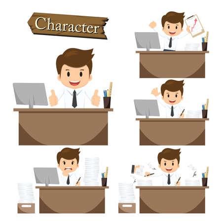 hard worker: Businessman character on office set vector. Illustration