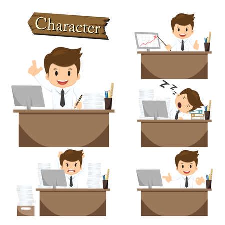 executive board: Businessman character on office set vector. Illustration