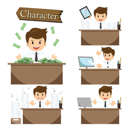 presentation people: Businessman character on office set vector. Illustration