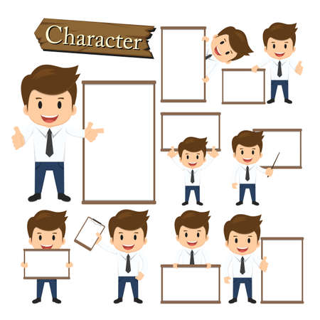 cartoon businessman: Businessman present whiteboard character set vector. Illustration