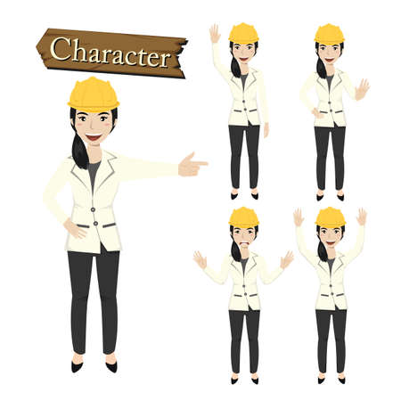 Engineer character set vector illustration. Vector