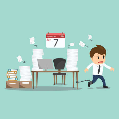 Businessman chained to the office desk on sunday vector illustration.