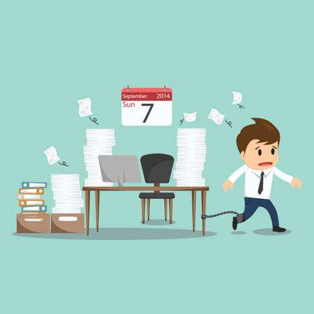 geketend: Zakenman geketend aan het kantoor bureau op zondag vector illustratie.