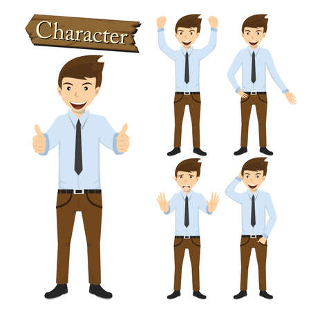 Businessman character set vector illustration. Vector