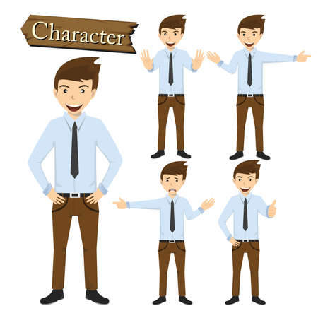unhappy people: Businessman character set vector illustration.