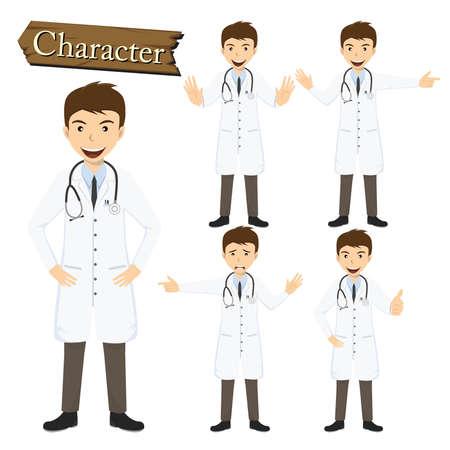 doctor vector: Doctor character set vector illustration. Illustration