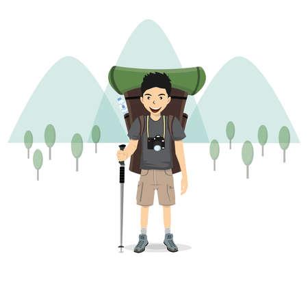 Hombre con una mochila y la montaña, ilustración vectorial.