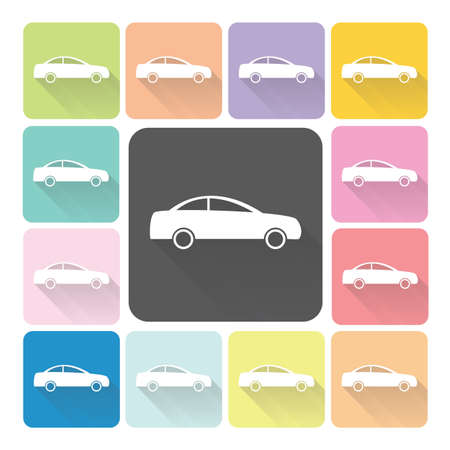 Car Icon color set vector illustration. Vector