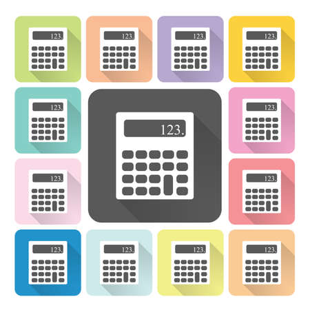 maths department: Calculator Icon color set vector illustration.