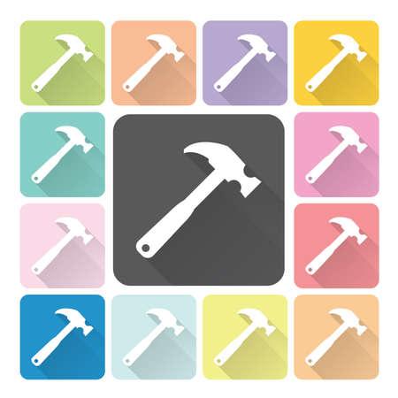Hammer Icon color set vector illustration. Vector