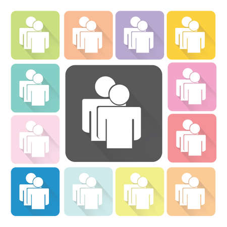 People Icon color set illustration. Vector