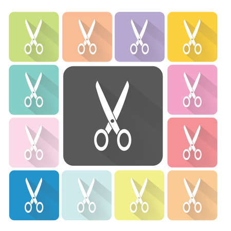 hairstyling: Scissors Icon color set vector illustration.