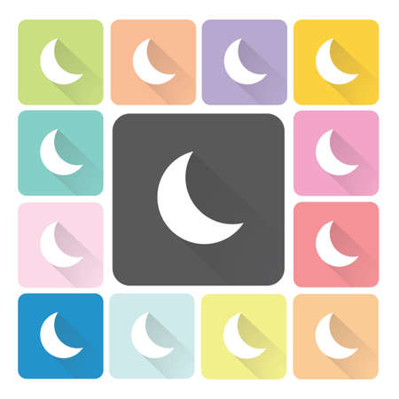 Moon Icon color set illustration. Vector